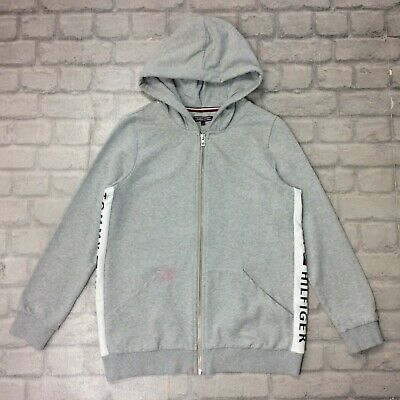 Tommy Hilfiger Girls 164Cm 14 Years Grey Full Zip Tape Hoodie Hoody Hooded Top