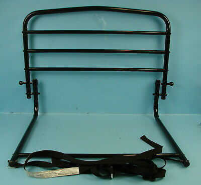"""Black Folding Metal Safety Adult Elderly Home Bed Rail 31"""" x 19"""" With Straps"""