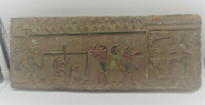 Scarce Ancient Egyptian Stone Wall Relief Panel Depictions Of Various Gods