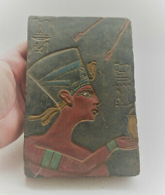 Rare Ancient Egyptian Stone Carved Panel With Heiroglyphs And Pharoah