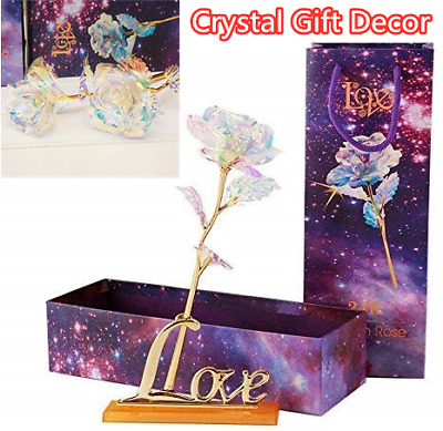 3D Crystal Rose Colorful Galaxy Rose with Love For Birthday Mothers Day Gift