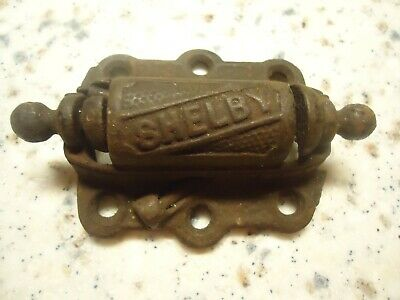 vintage old antique SHELBY cast iron screen door hinge. 2 1/2 wide by 3.