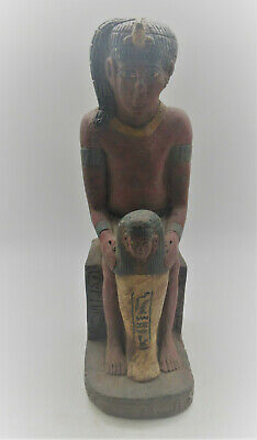 Scarce Ancient Egyptian Stone Carved Figurine With Ushabti, Repainted, Large