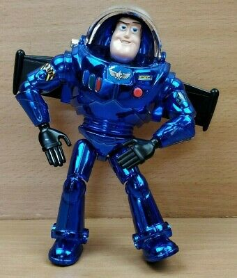 Toy Story Buzz Lightyear figure doll Metallic Chrome Blue Thinkway Small