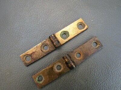 Antique or vintage writing slope box pair brass strap hinges spares parts