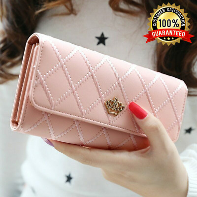 Women Lady Long Card Holder Phone Bag Case Purse Handbag Clutch Leather Wallet !