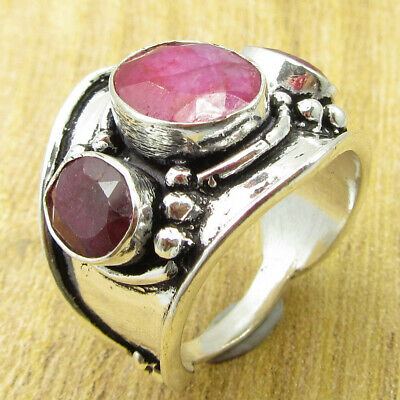 925 Silver Plated Multi Stone Ring Size 8.25 OLD STYLE Simulated Ruby BRAND NEW
