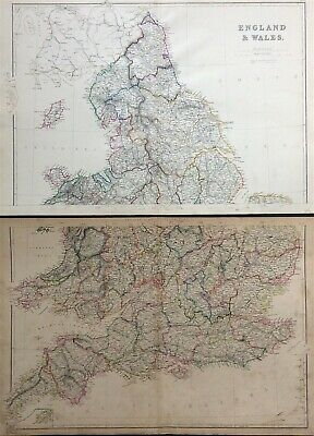Map of ENGLAND & WALES c1882 Blackie & Sons, E. Weller engraved 2 large sheets