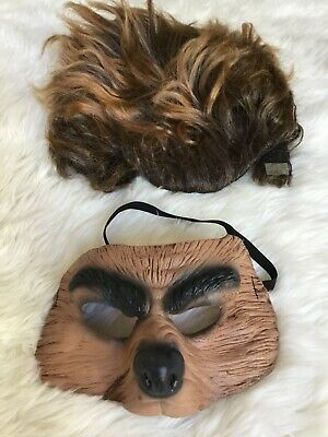 Childs Dress Up Warewolf Or Bear Plastic Mask And Wig