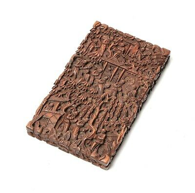 Antique Chinese Cantonese Region Carved Hardwood Card Case - People in Garden