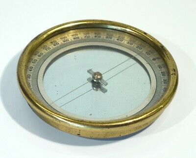 19th Century Antique Circular Brass Compass with Silvered Dial.