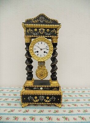 Antique French Inlaid Wood Portico Clock Napoleon Iii In Working Order