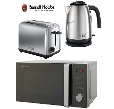Russell Hobbs Adventure Stainless Steel Kettle and 2-Slot Toaster & Microwave