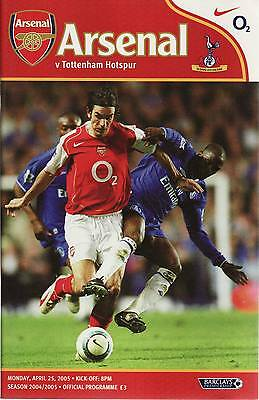 Football Programme - Premiership - Arsenal vs Tottenham Hotspur Spurs 25/4/2005