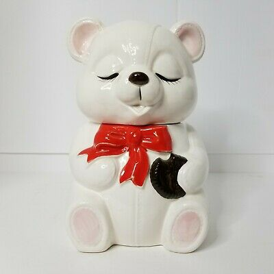 Vtg 40s -50s Baby White Bear Cookie Jar Red Bow Marked Japan