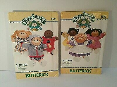 Vintage Cabbage Patch Kids Doll Clothing Patterns Butterick 6511 6509 Free ship