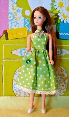 Topper Dawn doll OUTFIT  GREEN with WHITE POLKA DOTS with PURSE ..very pretty