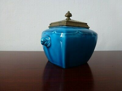 Ancien Encrier Faience Theodore Deck Antique French Inkwell Chinese Pottery 19Th