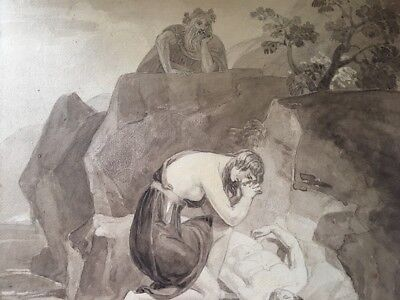 Antique Watercolor 19th Century Gothic  Fuseli Like Dramatic Figures ++