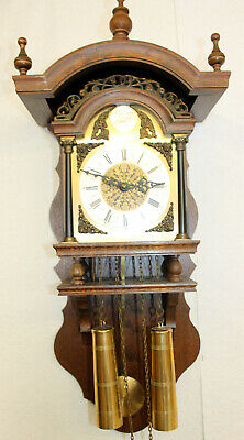 *Old Wall Clock Dutch Vintage Wall Clock TEMPUS FUGIT clock 8 Day  *