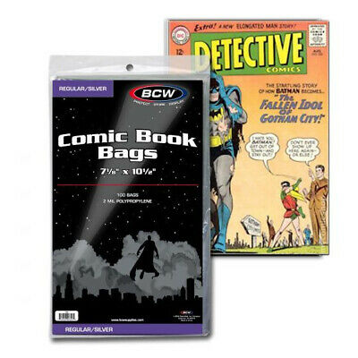 (100) Bcw Comic Book Silver Age 2 Mil Soft Poly Storage Display Bags