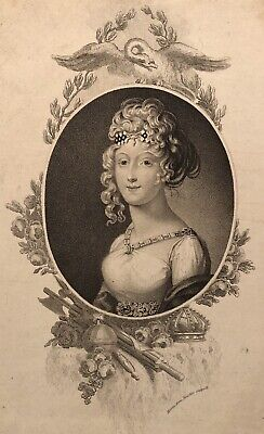 Beautiful 19th Century Engraved Portrait of Marie Louise, Napoleon's 2nd Wife