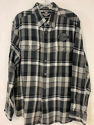 HARLEY DAVIDSON Black and Grey Cotton Flannel Button Up Men's Shirt Size Large