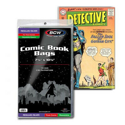 (5) Bcw Comic Book Resealable Thick Silver Age 2 Mil Soft Poly Storage Bags
