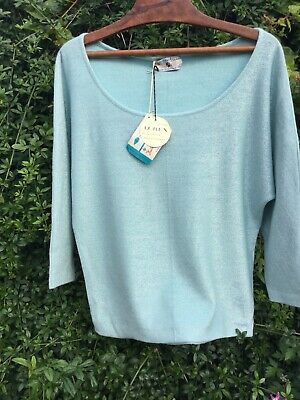 Vintage 60's Silver & Turquoise Lurex Jumper Courtelle NEW WITH TAGS