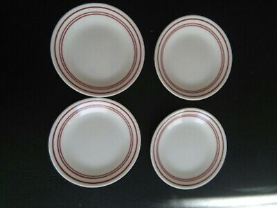 4 Corelle Red Cafe Bread/ Salad Plates
