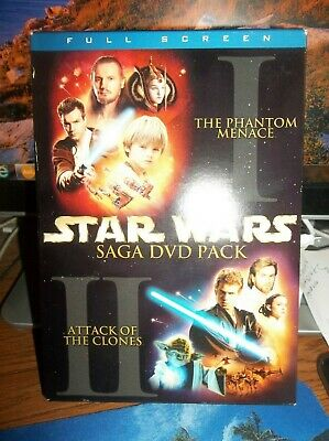 Star Wars Episodes I & II 2-Pack Saga DVD Pack 2002 4-Disc Set Full Screen
