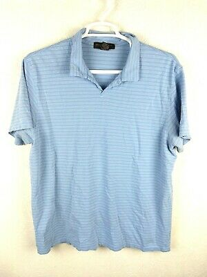 BANANA REPUBLIC Mens XL Extra Lg Baby Blue Striped Cotton Blend Polo Rugby Shirt