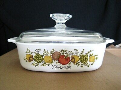 """1 Quart  Spice Of Life  Casserole  7"""" x 7"""" square by Corning  A~1~B w/ Pyrex Lid"""