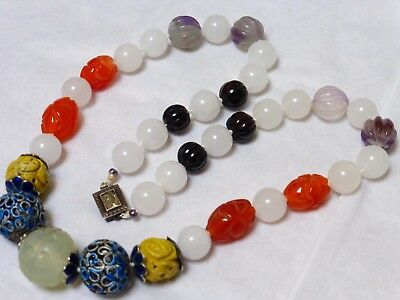 CHINESE CARNELIAN, AMETHYST, JADE, GARNET CARVED BEADS NECKLACE, Silver Clasp