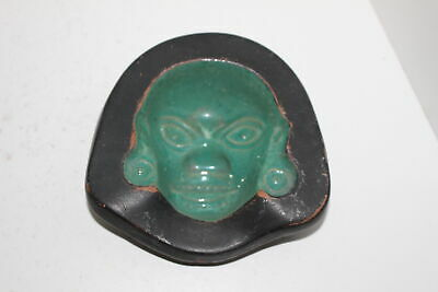 Vintage Texcoco Mexican Pottery Mayan Aztec Inverted Face Bowl/Ashtray