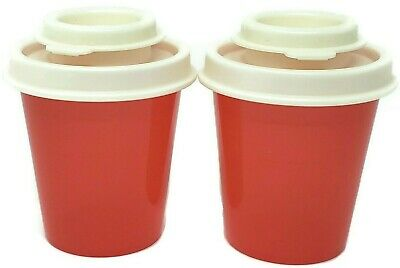 Tupperware Salt & Pepper Shakers  Set of 2 Beautiful Red w/ Ivory Seals F/S