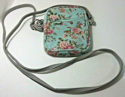Blue Floral Crossbody Phone Pouch Detachable Adjustable Strap Zippered Pocket