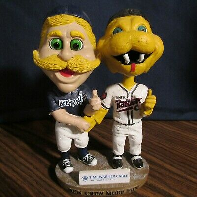 BERNIE BREWER & FANG TIMBER RATTLERS SHAKING HANDS DUAL BOBBLEHEAD No Box