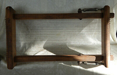 Table Top Weaving Loom Wood Frame Wire Wrap Strings Construction Vintage