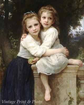 On the Rocky Shore by W A Bouguereau Little Girl Sea 8x10 Print Picture 1815
