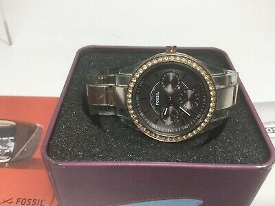 WOMENS FOSSIL STELLA Clear Bronze Diver Look Chrono Face Es