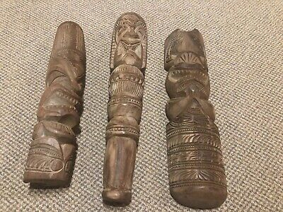 Antique Handcarved Papua New Guinea Wooden Club & Totems Circa 1940's