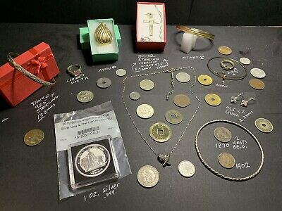 Junk Drawer Estate Lot Vintage 925 Sterling Gold Tone Jewelry Silver Coins Rings