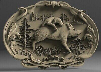 3D STL Models # BOAR HUNTING # for CNC 3D Printer Engraver Carving Aspire Artcam