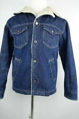 Vintage GAP Denim Jacket Sherpa Lined Trucker Men Size Small