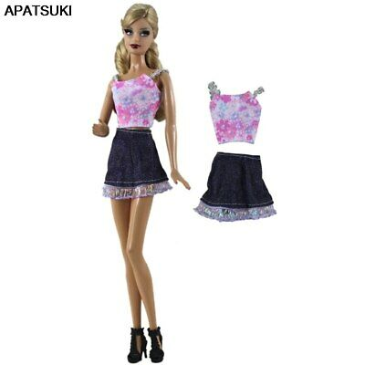 """Fashion Doll Clothes For 11.5"""" Doll Pink Short Top Denim Jeans Skirt Outfits 1/6"""