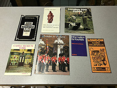 VINTAGE LOT 7 TOURIST BOOKLETS LONDON in PICTURES ZOO BRITISH MUSEUM LIBRARY MAP