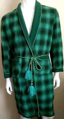 ONKAPARINGA vintage mens size OS dressing gown wool check green