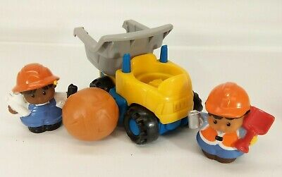 Fisher Price Little People dump truck construction worker figures lot