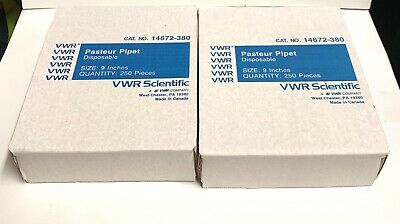 "VWR 14673-010 Pasteur Pipette Pipet 5 3/4"" Borosilicate Glass, 200-Piece Box"
